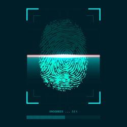 Abstract fingerprint scanner in progress - identity verification concept. Vector illustration.