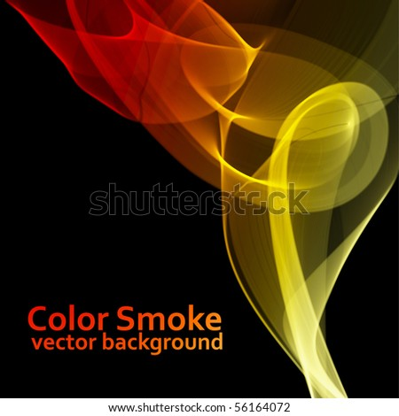 Abstract fire colored vector smoke background with black copy space.