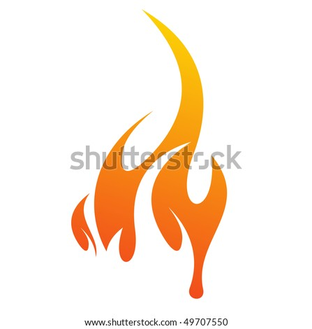 abstract fire icon with white