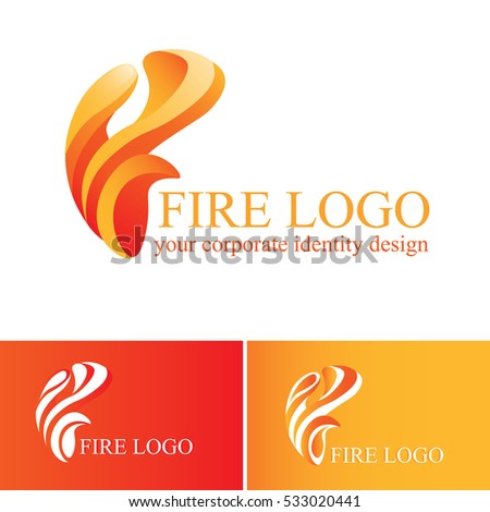 abstract fire logo on white