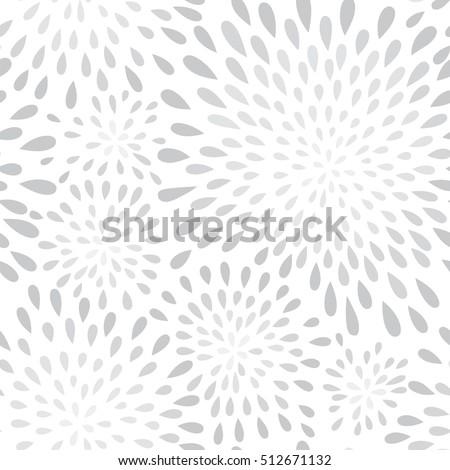 Abstract firework splash dot seamless pattern. Swirl floral petal texture. Water-drop spot ornament. Ornamental wave background.