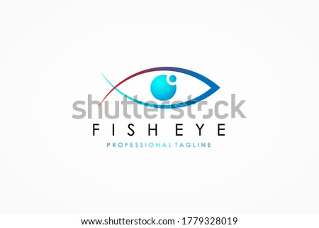 abstract fish eye logo red and