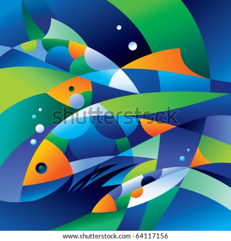 abstract fishes in the depths