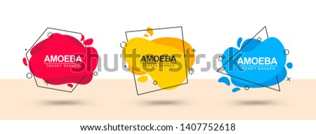 Abstract flat banners with black contours in the form of square, polygon, triangle in the style of memphis design. Bright banners for web advertising, ad, printing and more.