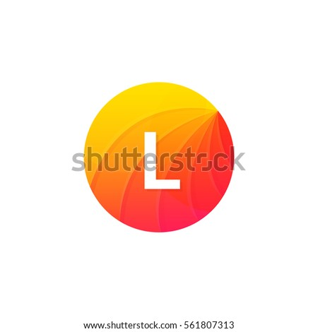Stock Photo Abstract flat circle L logo letter symbol sign company icon vector design