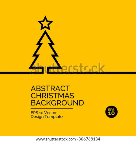 Abstract flat design concept with christmas tree illustration on yellow background. Vector collection