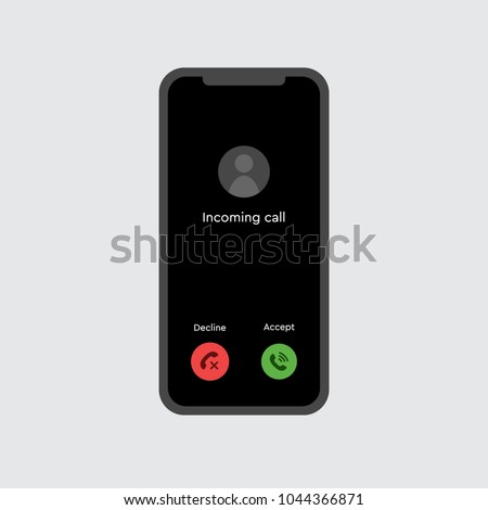 Abstract flat design simple vector accept ringing smartphone concept. Telephone symbol isolated on a white background illustration