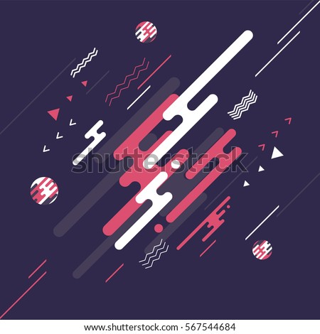 Abstract flat dynamic background design. Movement of simple geometric shapes on the dark background. Vector illustration