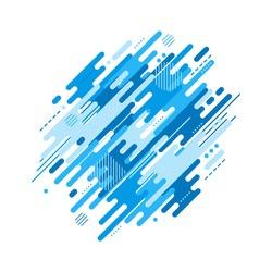 Abstract flat dynamic background isolated on white. Blue geometric motion shapes. Colorful pattern for cover design, poster, card, greeting, business, decoration. Vector illustration template.