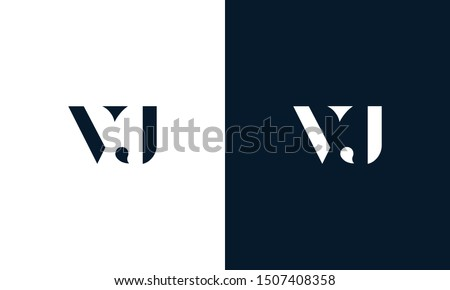 Abstract flat letter VJ logo. This logo icon incorporate with abstract shape in the creative way. Stock fotó ©