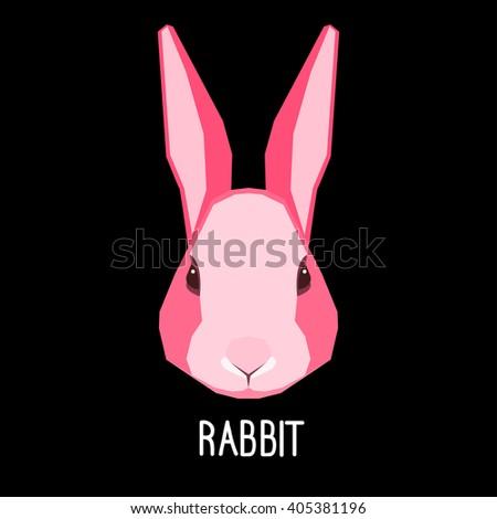 abstract flat pink rabbit