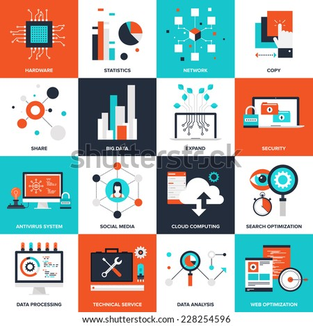 Abstract flat vector illustration of technology concepts. Elements for mobile and web applications.