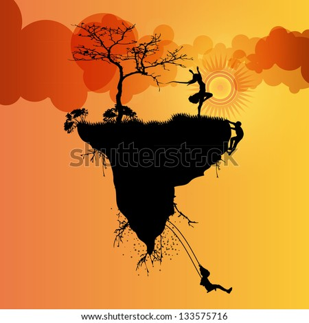 abstract floating island vector
