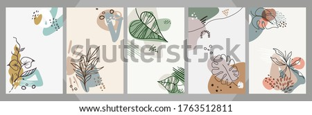 Abstract floral art vector cover background Hand draw template leaves and line art background for paper cover fabric interior decor