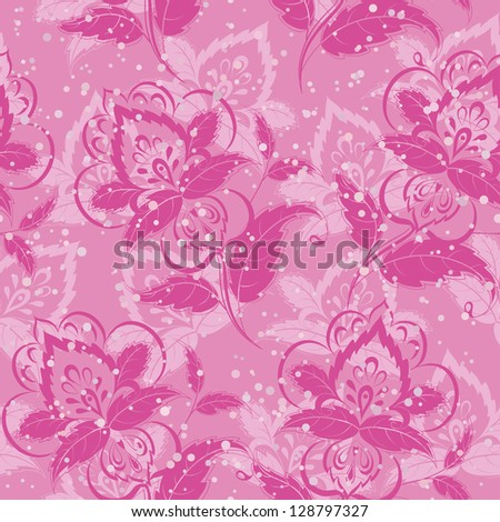 Abstract floral background, pattern with symbolical flowers and hearts. Vector