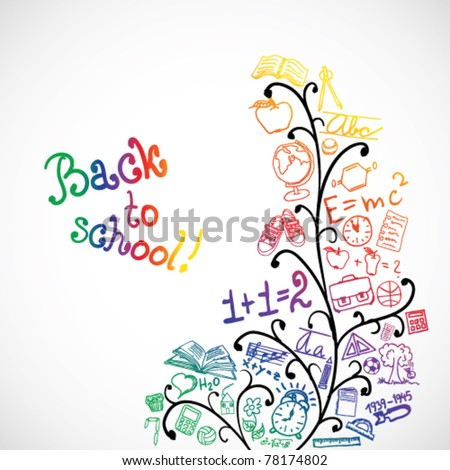 Abstract floral background with colored school symbols - stock vector
