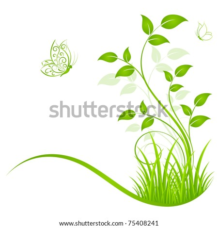 Abstract floral background with grass and butterflies. Element for design.