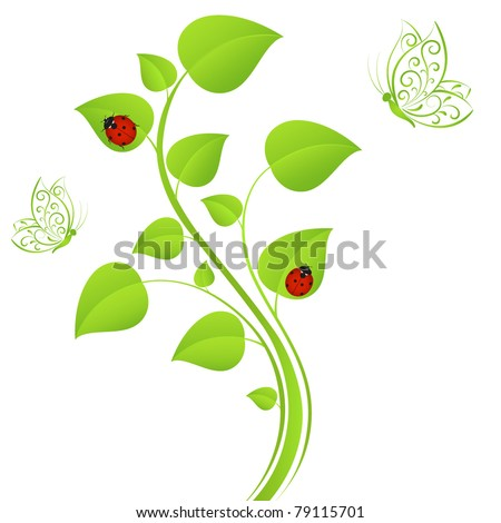 Abstract floral background with  ladybugs  and butterflies. Element for design.