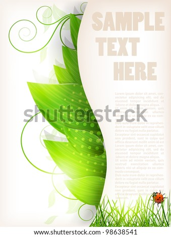 Abstract floral background with  leaves and ladybird