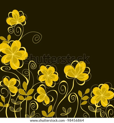 Abstract floral background with yellow flowers for textile design. Jpeg version also available in gallery