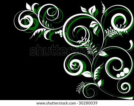 abstract floral composition on black gradient background