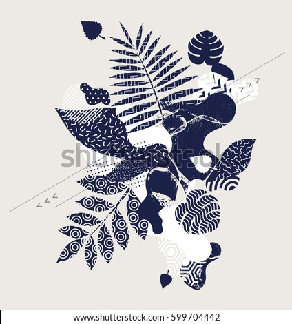 Abstract floral composition with geometric elements. #599704442