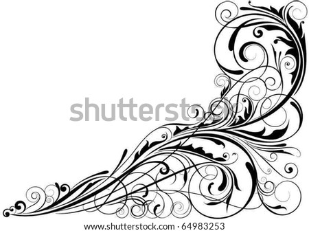 Abstract floral corner design