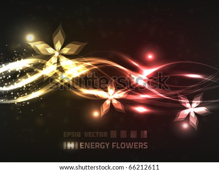 Abstract floral design with energy lines, bright lights, blurry particles and flowers on dark red background.