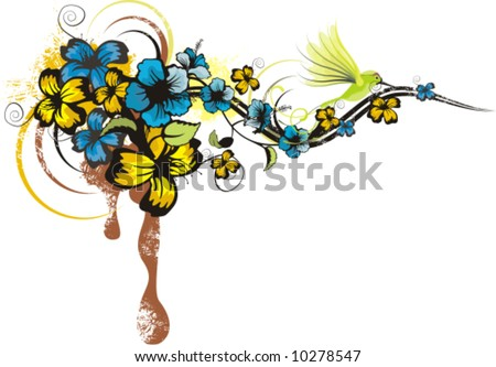 Abstract floral design with flowers and grunge details, vector illustration series.