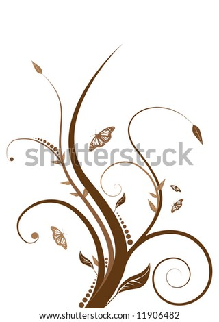 Abstract floral design with flowing line in shades of brown