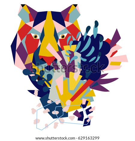 Abstract floral elements paper collage with low-poly tiger.Vector illustration hand drawn.Sketch ready for contemporary scandinavian flat design- poster, invitation, post card, t-shirt design. #629163299