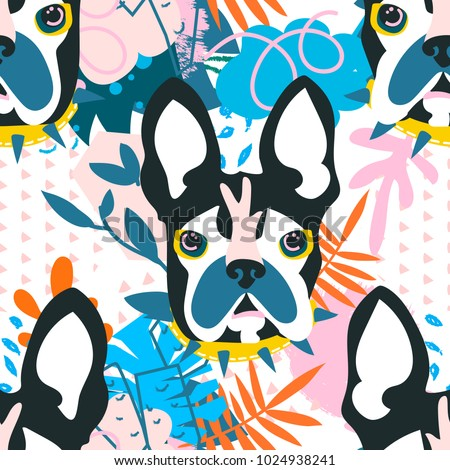 Abstract floral elements papercut collage.Vector illustration dog head.Papercut ready for contemporary scandinavian flat design- poster, invitation, post card, t-shirt design.Seamless pattern