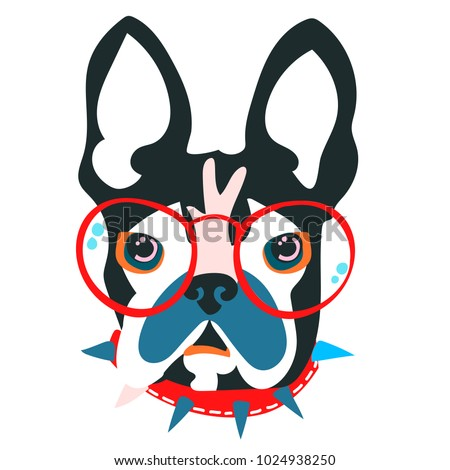 Abstract floral elements papercut collage.Vector illustration dog head.Papercut ready for contemporary scandinavian flat design- poster, invitation, post card, t-shirt design.