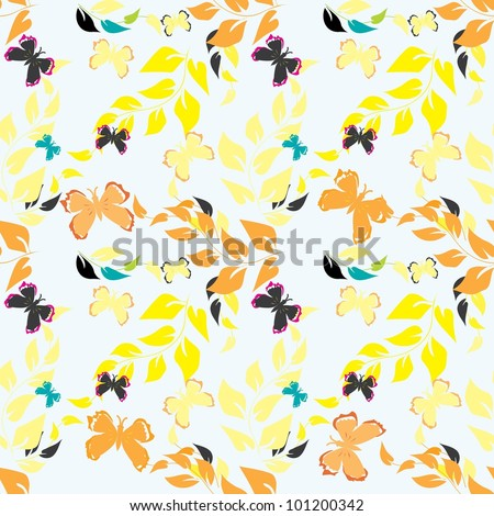 Abstract floral end butterfly seamless pattern background