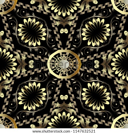 Abstract floral greek vector seamless pattern. Black ornamental geometric background with gold vintage flowers, leaves, geometry shapes, greek key, meanders. Decorative design. For wallpapers, prints