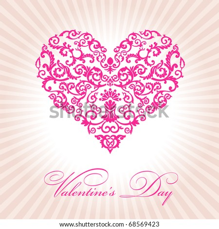 abstract floral heart valentine day pink vector illustration - stock vector