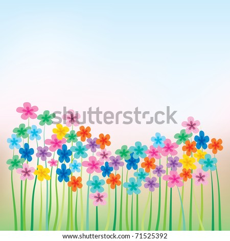 abstract floral illustration with flowers and grass