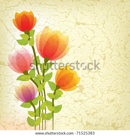 abstract floral illustration with red flowers on cracked background
