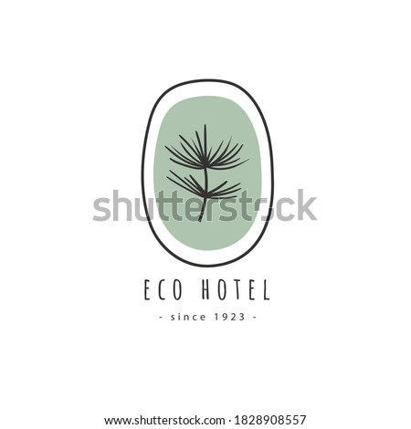 Abstract floral logo. Vector logo template isolated on white. Natural logo with fir branch.