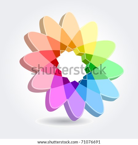 Abstract floral modern symbol with many-colored petals