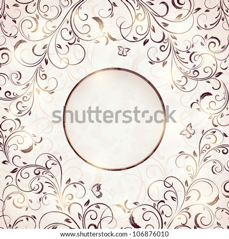 Abstract Floral ornament with butterfly for decor, Illustration.