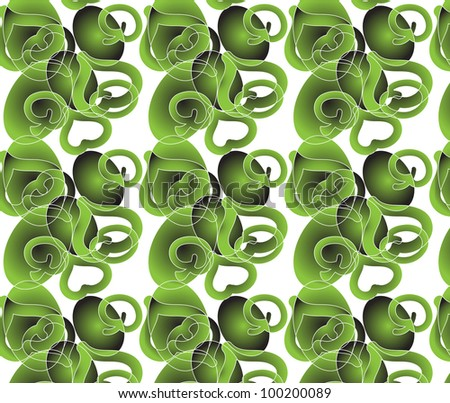 Abstract floral pattern in green  colors with leaves, apples, hearts, ovals. Seamless ornament,