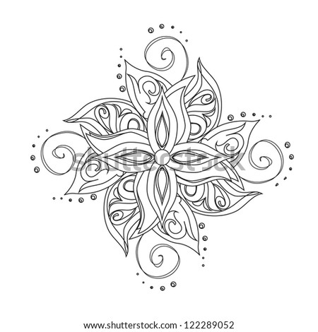 Abstract floral pattern. Stylized flower against white background