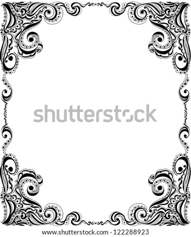 Abstract floral pattern. Template frame design for card.
