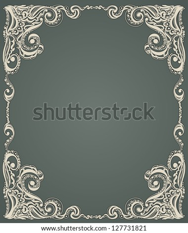 Abstract floral retro pattern. Template frame design for card