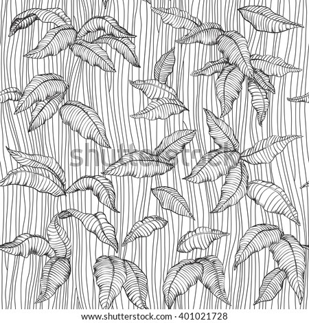 Abstract floral seamless background. Vector of pattern with many leaves at engraving style. Coloring book for adult and children. Coloring page.