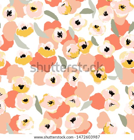 Abstract floral seamless pattern. Bright colors, gouache painting.