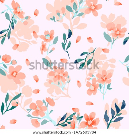 Abstract floral seamless pattern. Bright colors, painting on a light background. Cherry blossoms.