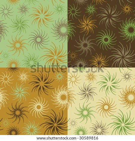 "Abstract floral seamless pattern in browns and green. 6"" repeat. Tiles are grouped on separate layers."
