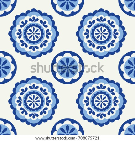 Abstract floral seamless pattern in scandinavian style. Vector Illustration.